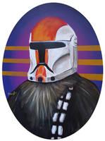 Wookie wearing Clone Trooper Helmet by TrampLamps