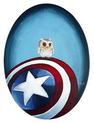 Baby owl on Captain America's Shield by TrampLamps
