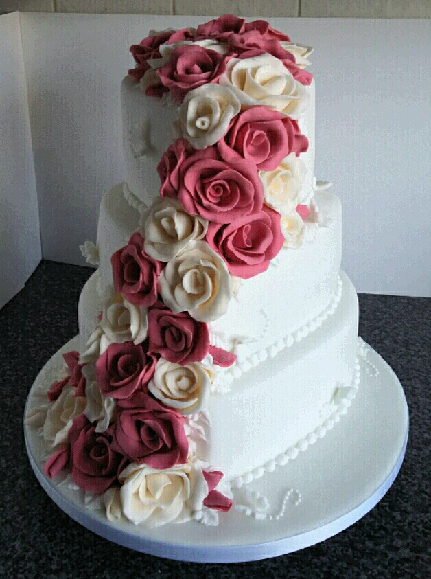 Dusky Pink Rose Wedding Cake by clvmoore
