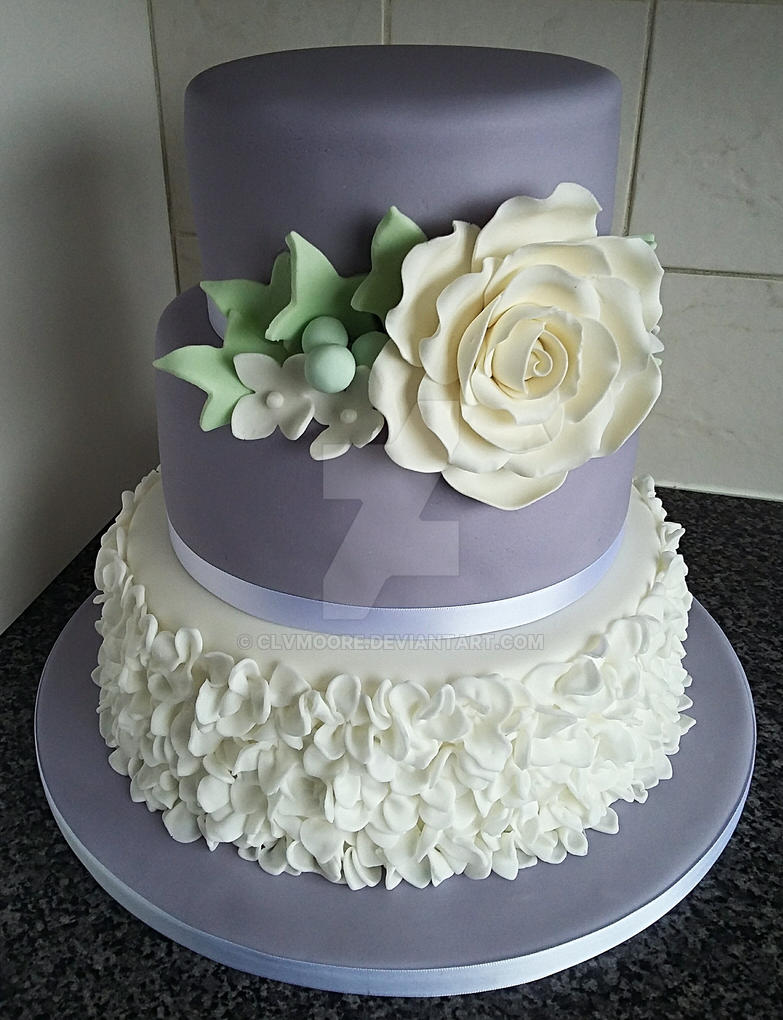 Rose and Ruffles Wedding Cake by clvmoore