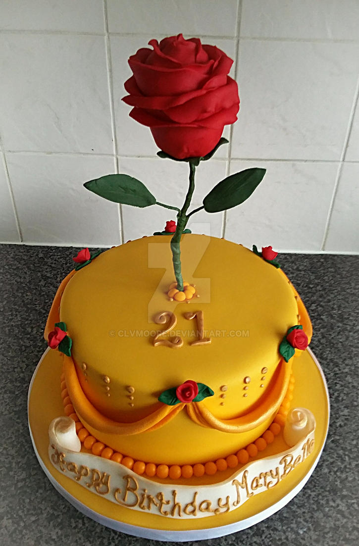 Beauty and the Beast Rose cake by clvmoore