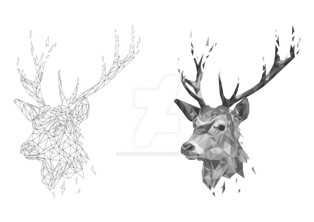 deer gray low poly - photo #3