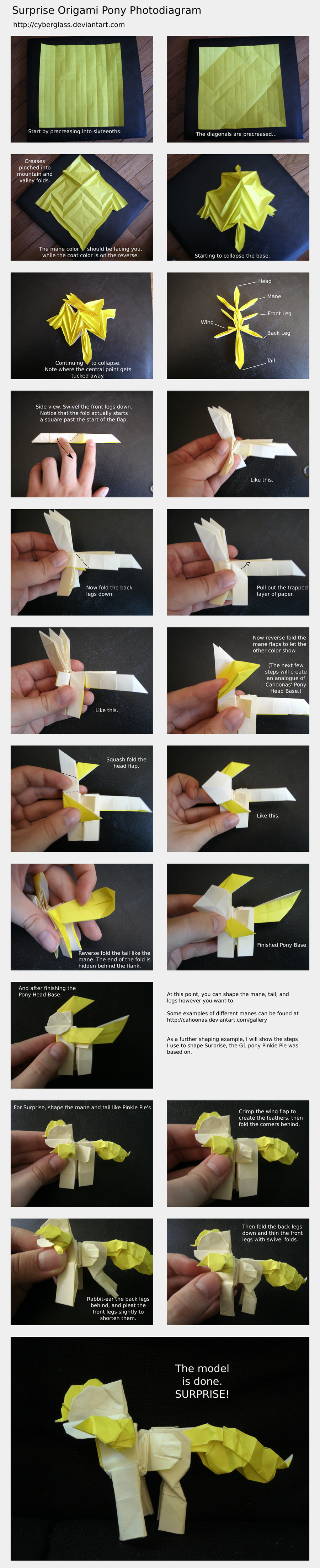 Surprise Origami Pony Photodiagram by Cyberglass