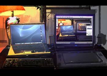 My  macbook pro + HP PC by artbybin