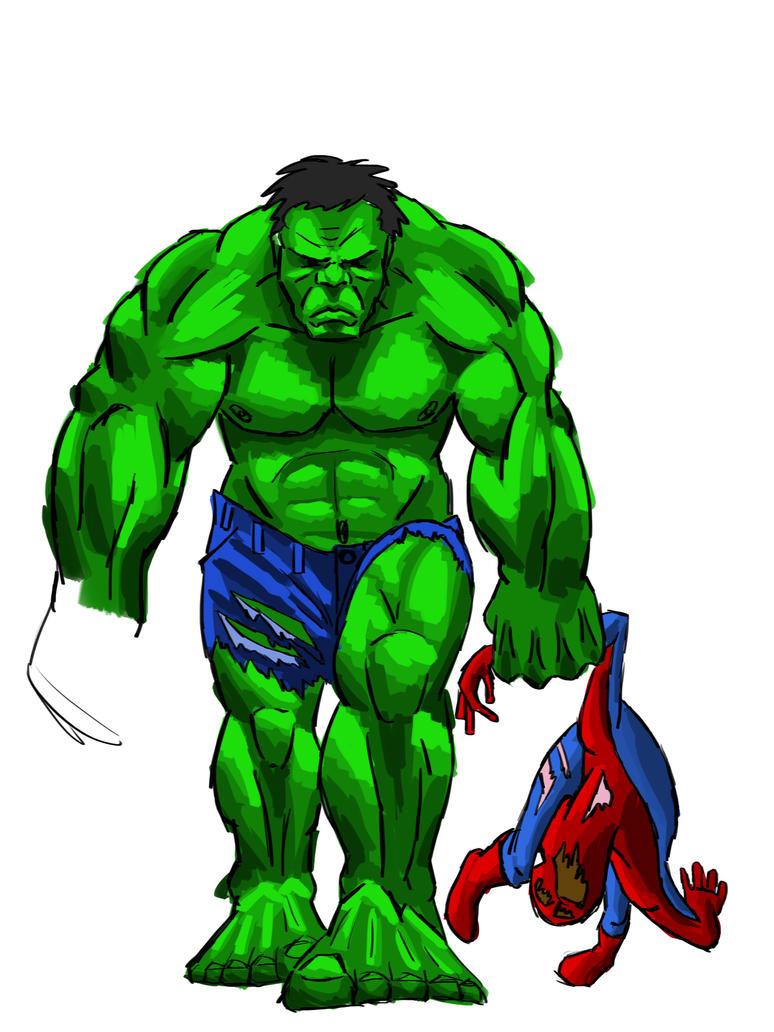 my hulk kill spiderman by 00greenhead00
