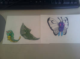 Caterpie Metapod Butterfree by MangaBlock8