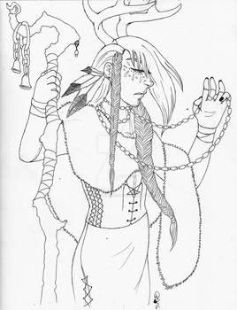 Horned Druid - Best of Inktober