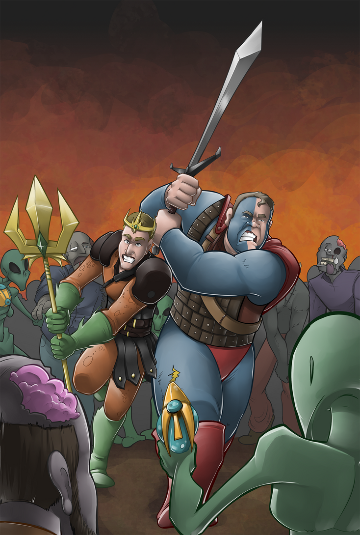 Zombies and Aliens and Warriors by silvachito