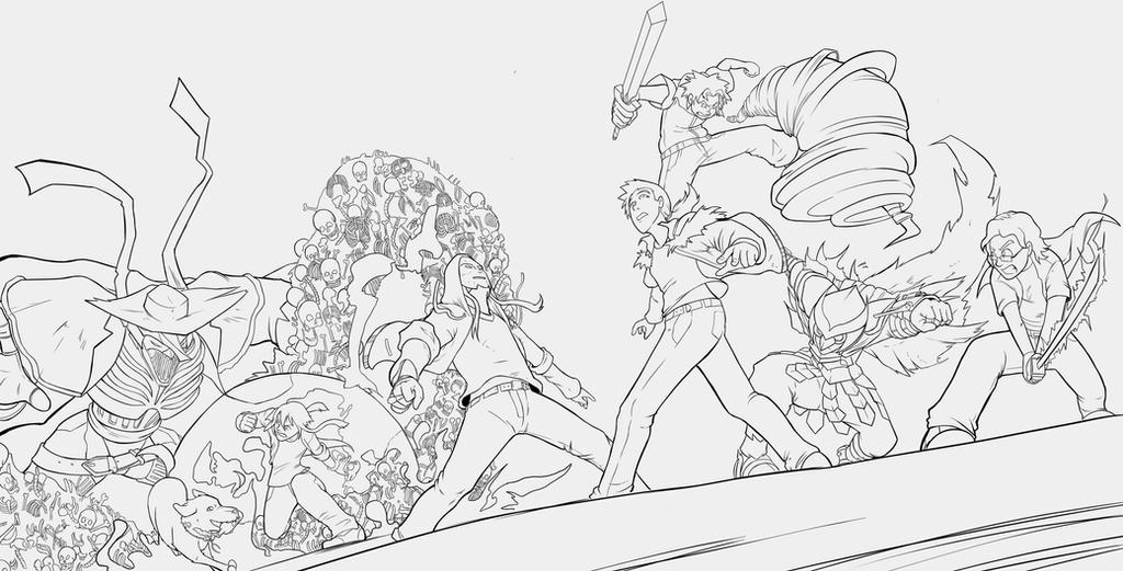 Lineart commission: A great battle! by silvachito