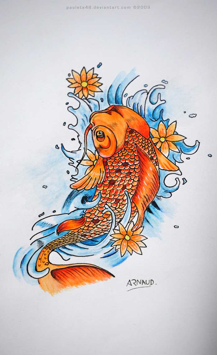 Koi fish drawing color blue for Koi fish information