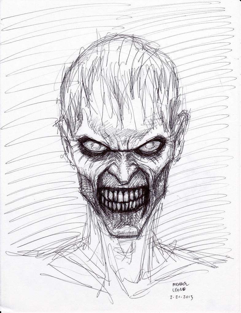Zombie Face Line Drawing : Zombie sketch  by myconius on deviantart