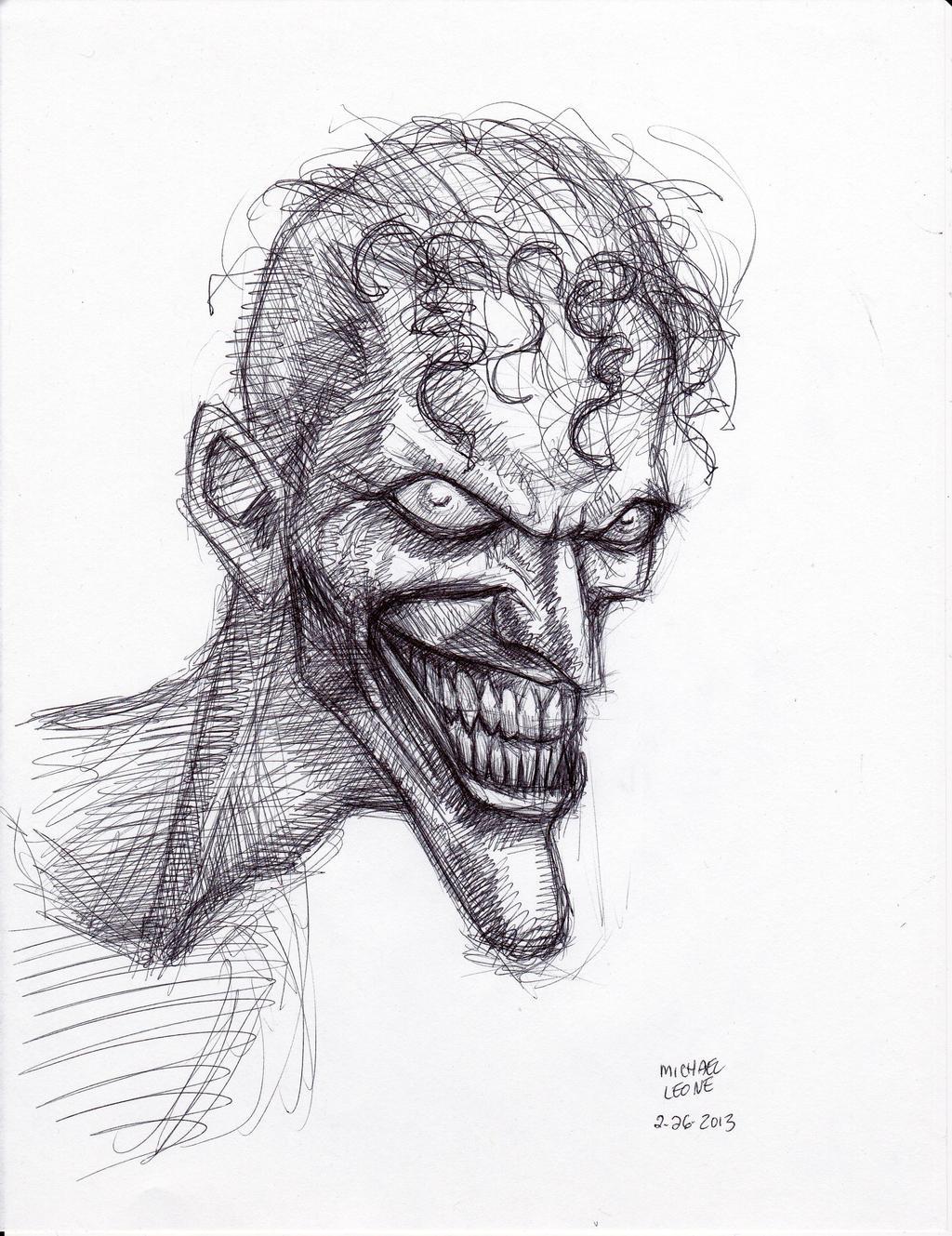 Joker pen sketch 2 26 2013 by myconius on deviantart for Cool pen drawings