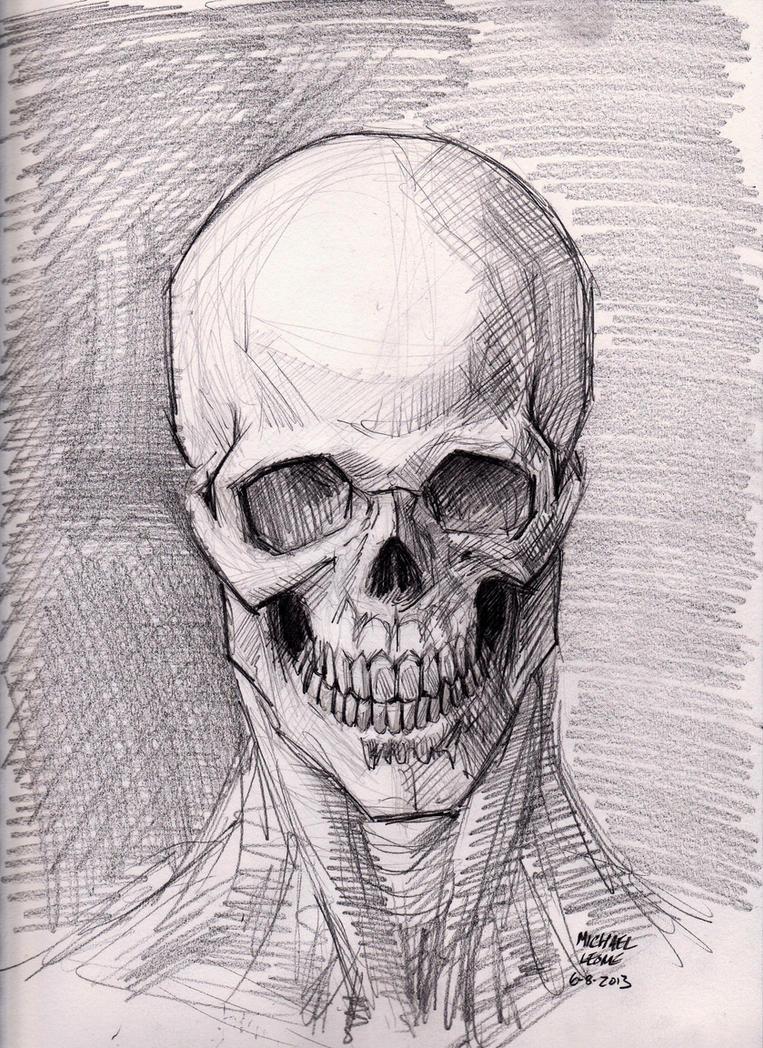 skull sketch 6 8 2013 by myconius on deviantart