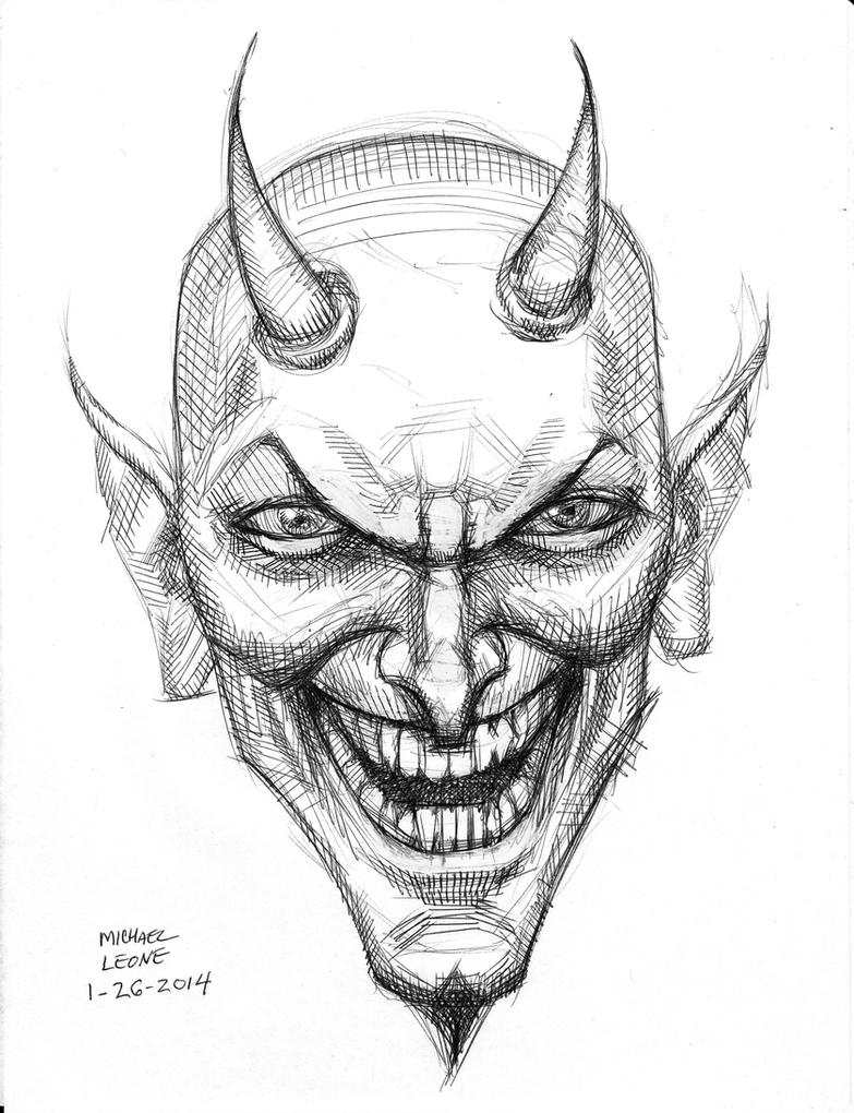 Devil Face Line Drawing : Devil pen sketch by myconius on deviantart