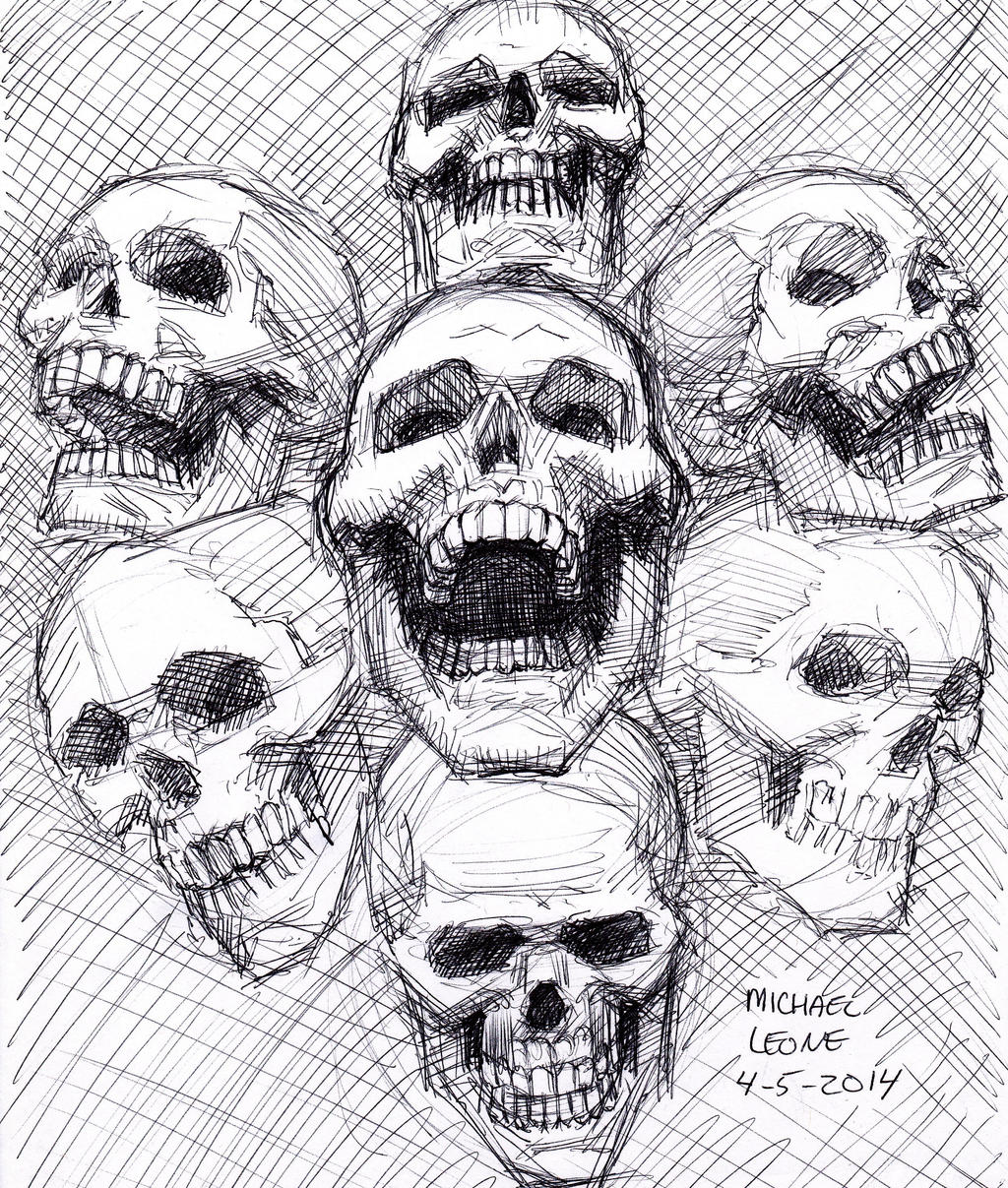 Skull Sketch 4-5-2014 by myconius