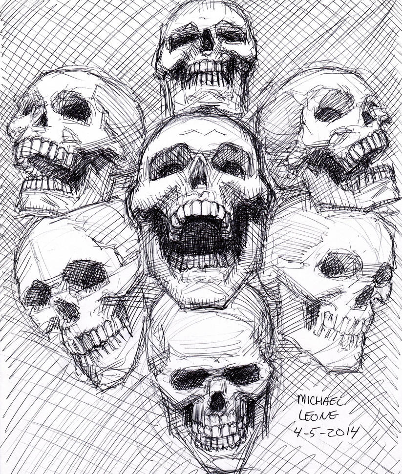 Skull Sketch 4-5-2014 by myconius
