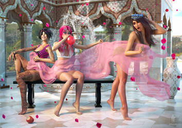 3 Ladies and a Pink Gauze by Azkas19