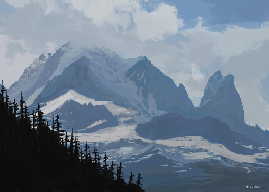 Mountain study of the Alps near the Mont Blanc by ...