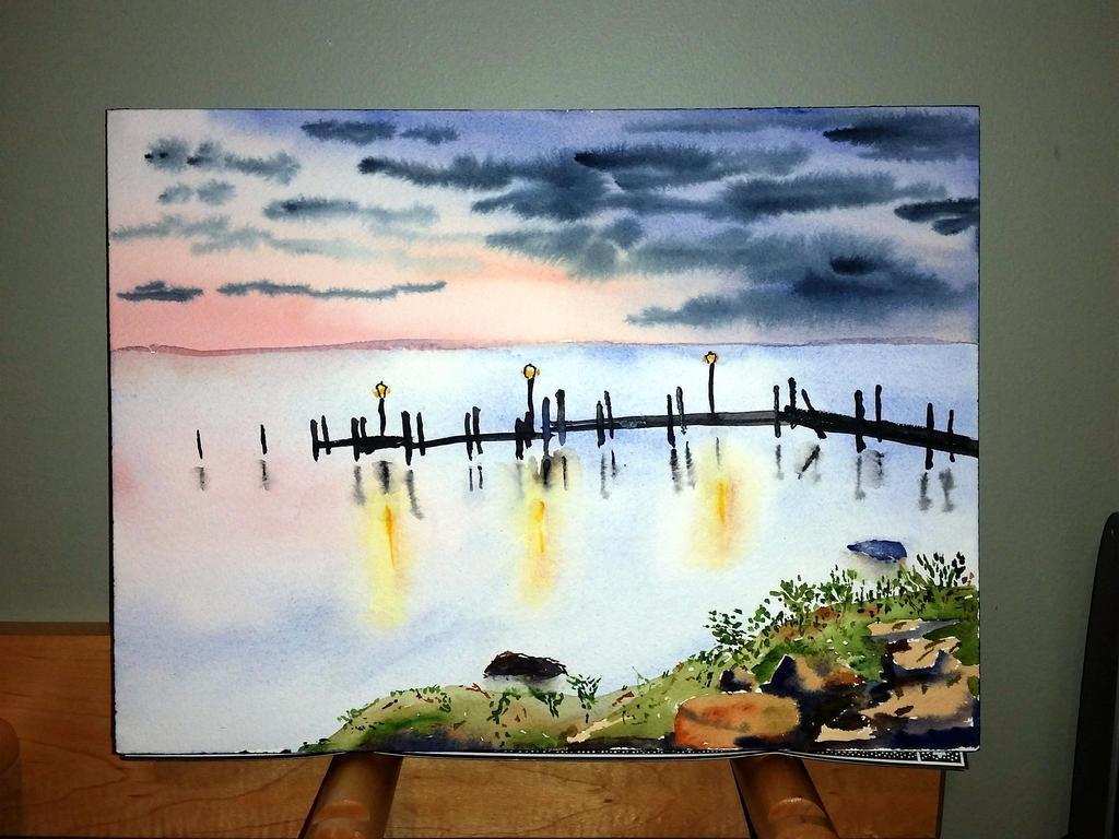 Chesapeake Sunrise Over Pier by muridaee