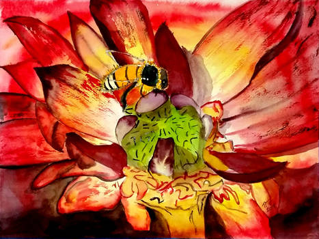 .:Bee with Flower:.