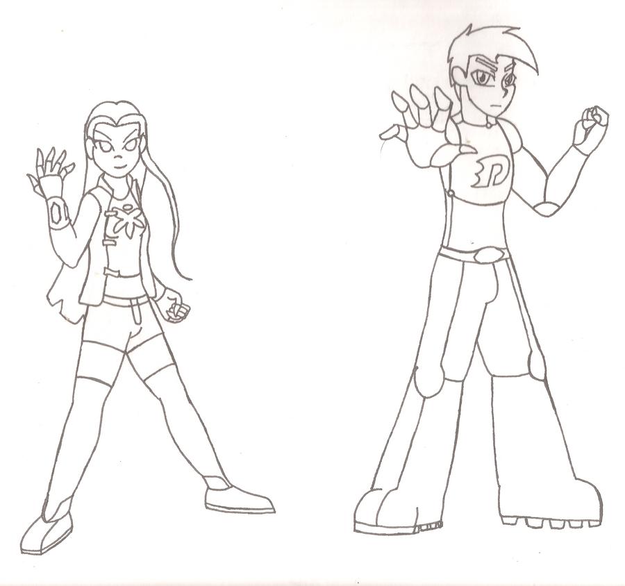 juniper lee and danny phantom power quest sketch by
