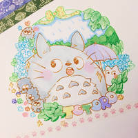 Totoro Traditional Copic Illustration by pomifumi