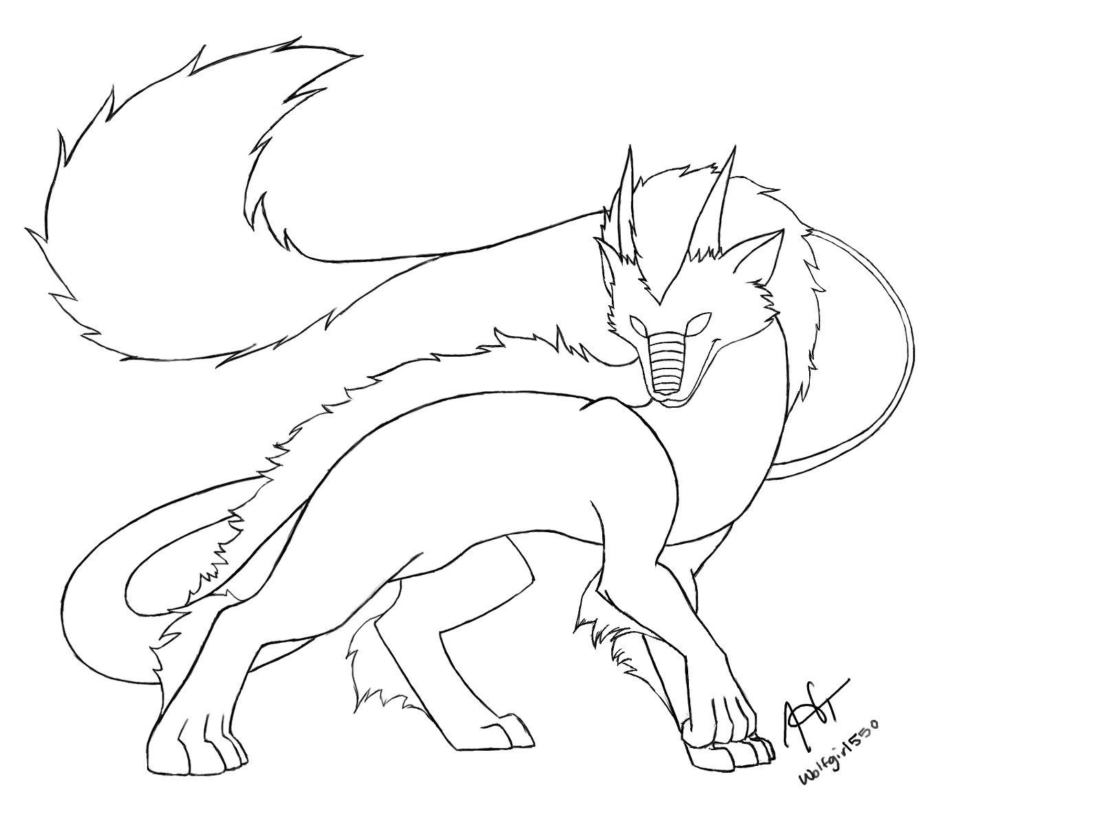 Simple Wolf Lineart : Wolf dragon line art thingy by wolfgirl on deviantart