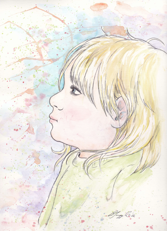 Watercolor Portrait-Kyli by Tugglebee