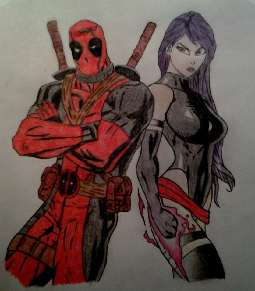 Deadpool and Psylocke by Scutum20