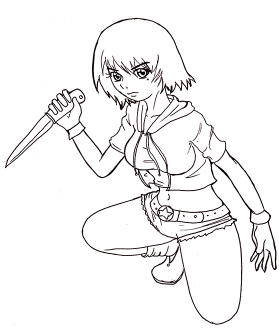 Line Drawing Knife : Girl with knife lineart by taekunart on deviantart