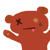 free dead teddy bear icon (red) by candydesufox