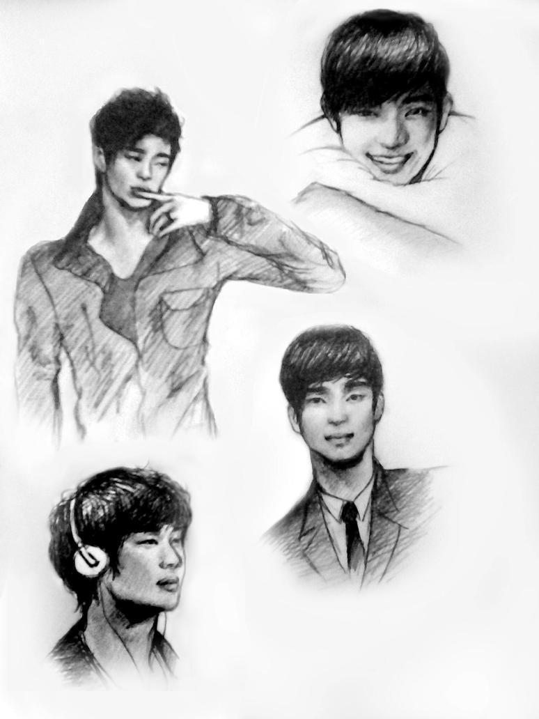 Kim Soo Hyun sketchdump by Roxellana