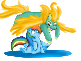 Rainbow Dash and Tianhuo by Heartbeat420