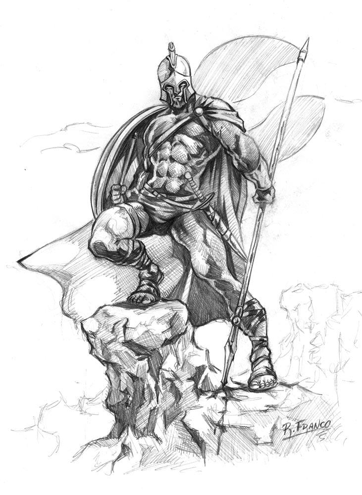 Line Art Vs No Line Art : Espartano by ricardoafranco on deviantart