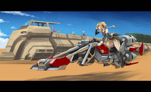 Girl on a hoverbike