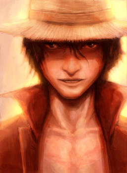 Monkey D. Luffy iPad work in progress painting