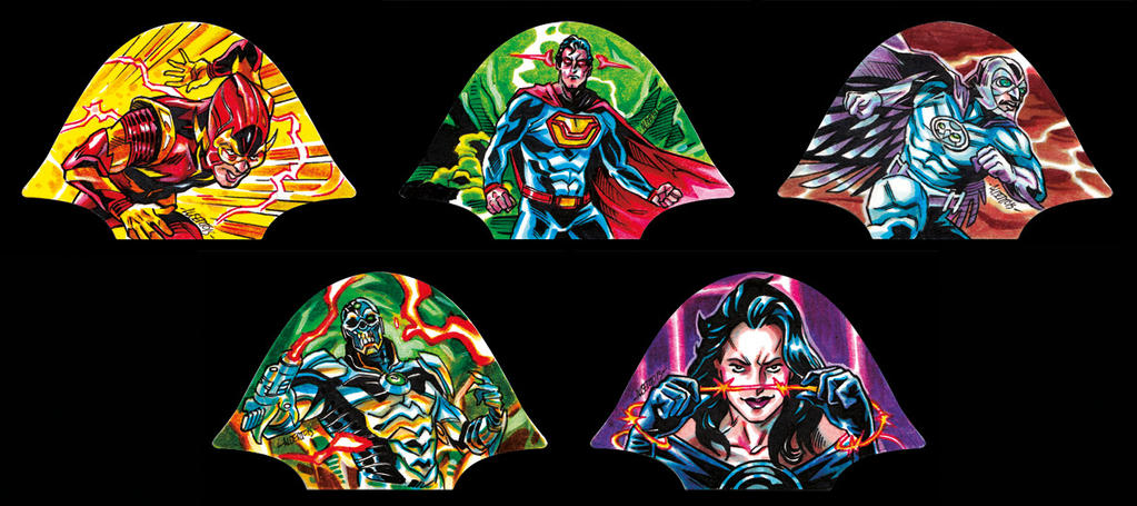 DC Super-Villains Sketchcards, Hall of Doom cards by PencilInPain