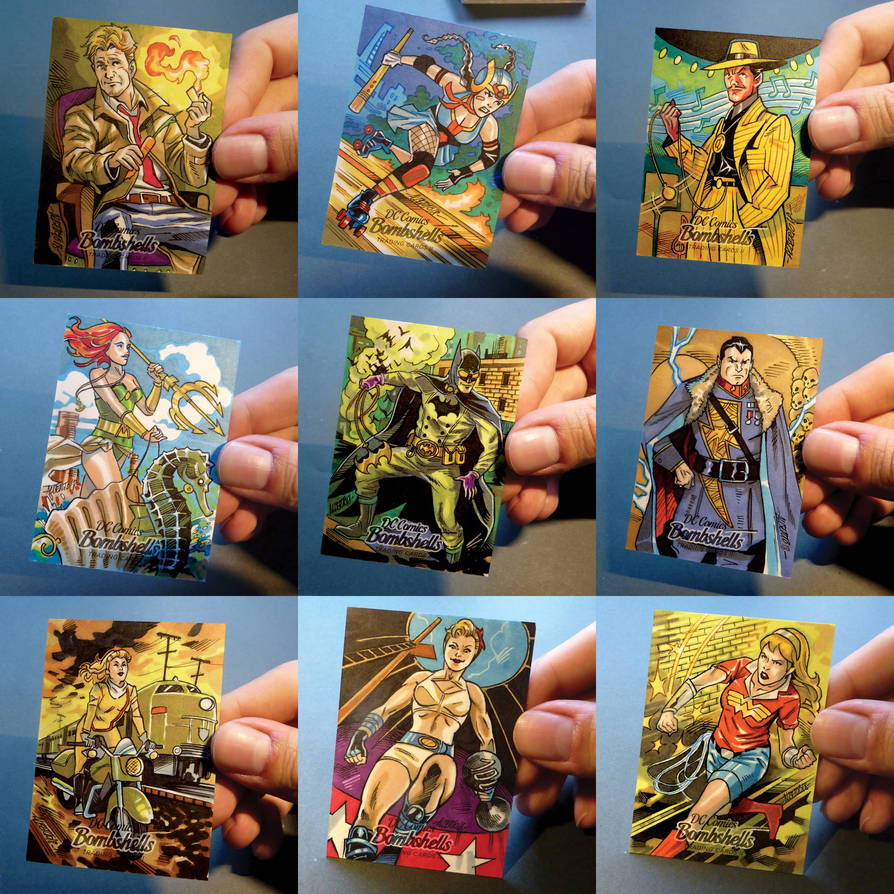 DC Bombshells II official sketchcards by PencilInPain