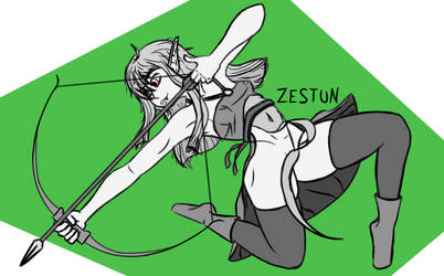 Aila doing some mid-air acrobatic archery by Zestun