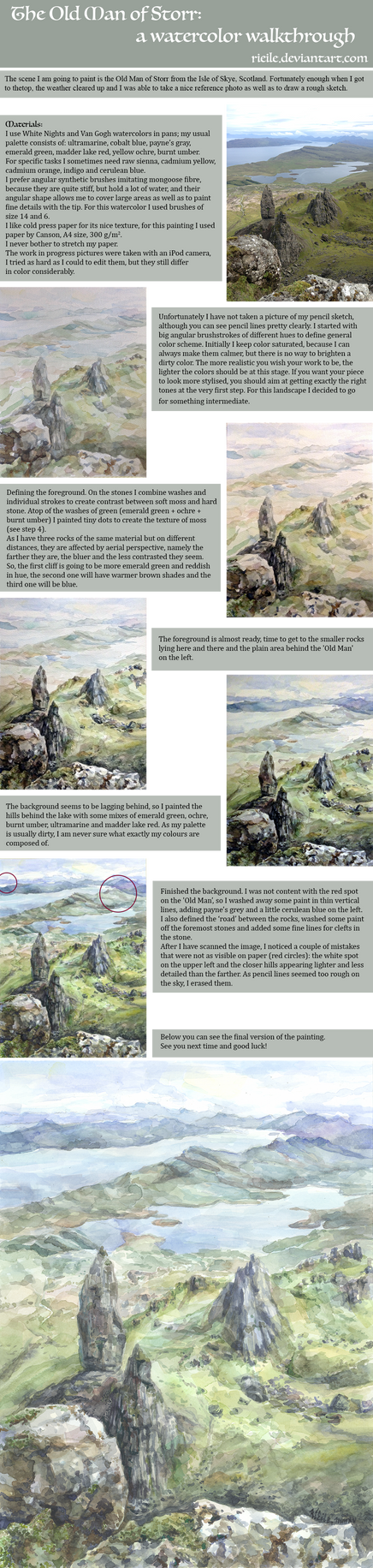 -The Old Man of Storr: a Watercolor Walkthrough- by RiEile