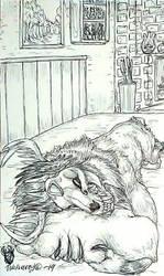 Inktober day 17 ~ Slumber ~ Wolvaray sleeps