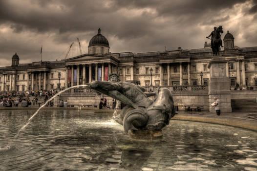 Trafalgar square fountain London UK