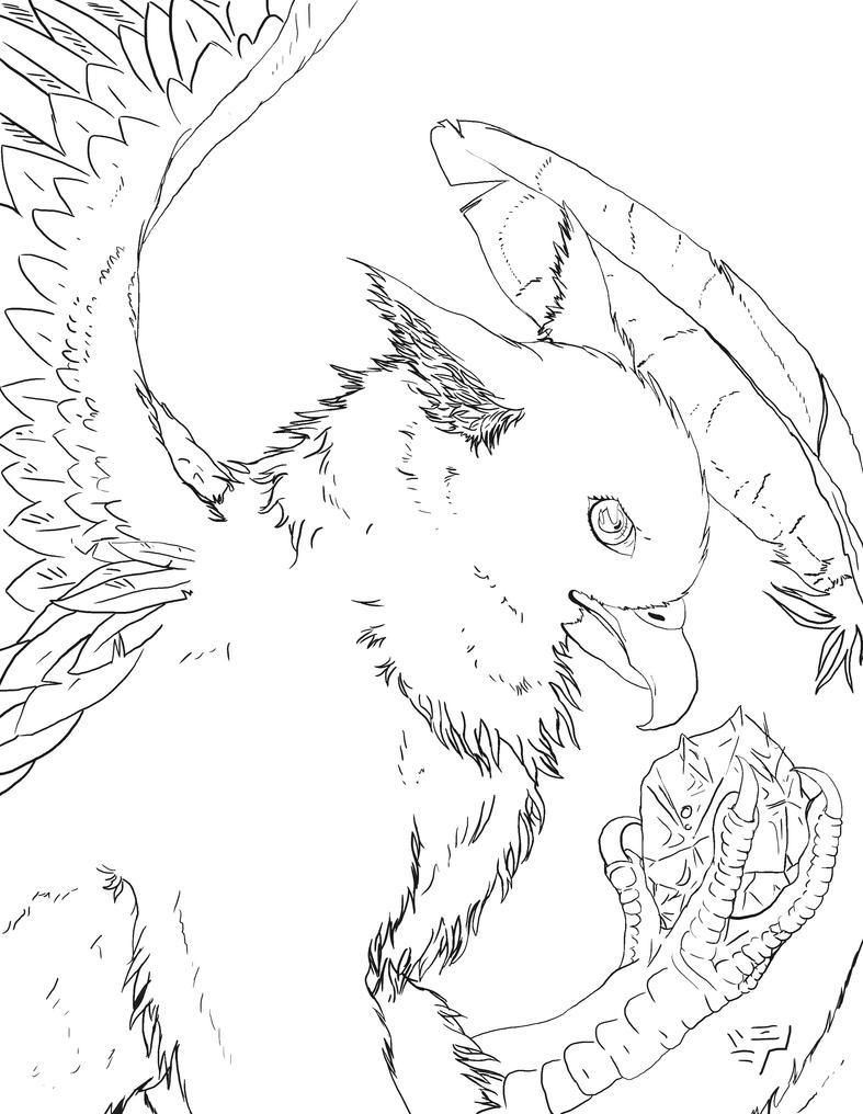 Gryphon's Treasure Lineart by ElysLullabye