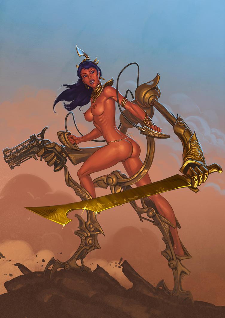 Dejah Thoris in Martian battle suit by Lipatov