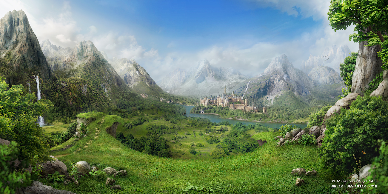 Land of mountains and sunshine by nm art on deviantart for Mountain designs garden city