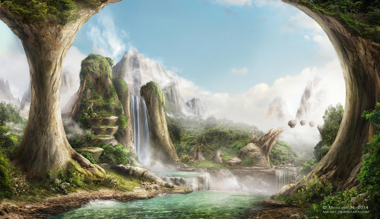 Valley of waterfalls by NM-art