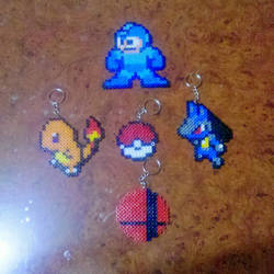 Megaman,Lucario,Charmander,Pokeball and SSB logo