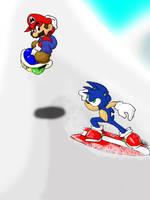 Mario and Sonic_sliding by Mustashio