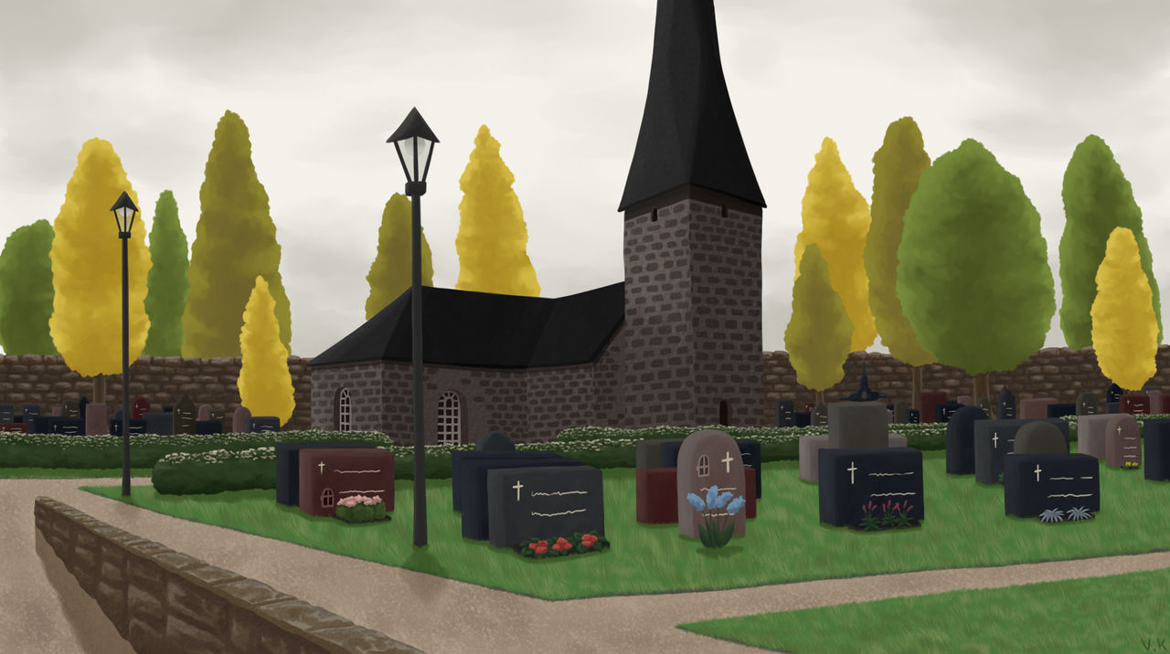 Cloudy day in the cemetery