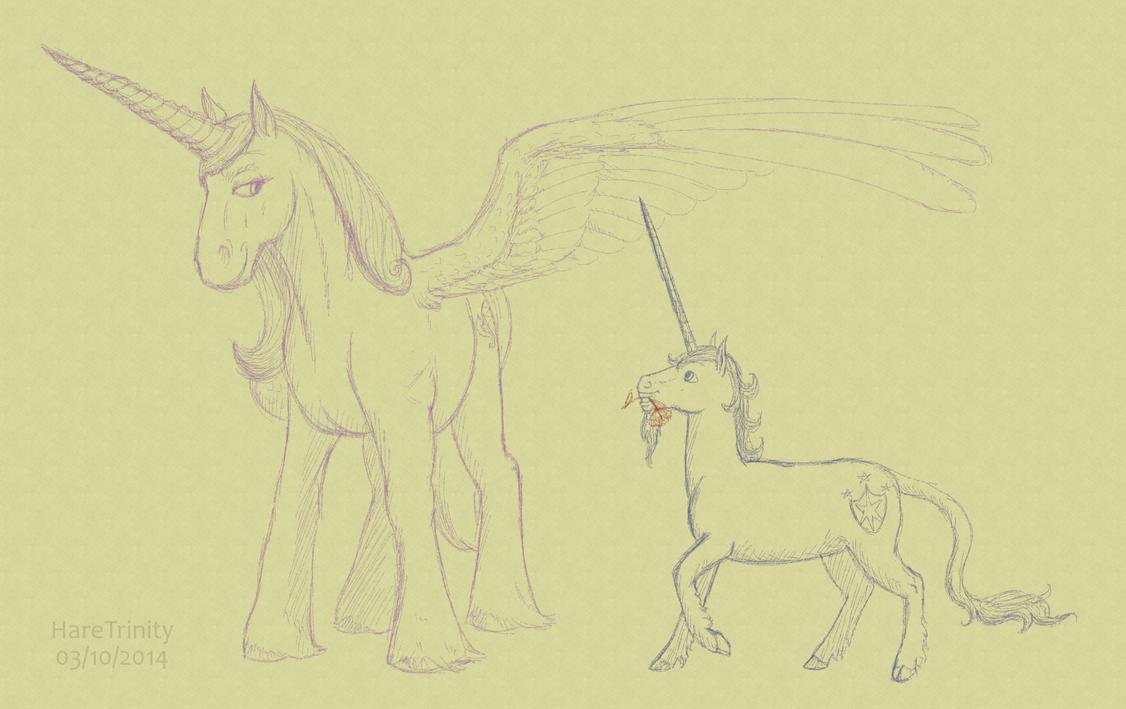 The love alicorn and her love (unicorn) by HareTrinity